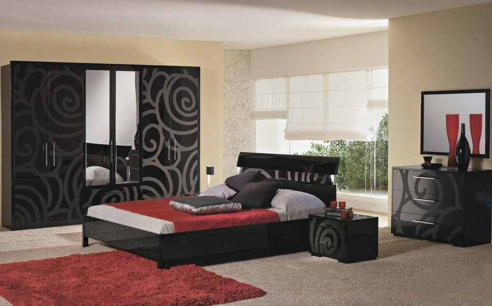 Черный спальный гарнитур в интерьере фото